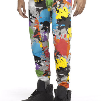 Paint Splatter Print Ares Joggers | Royal Blue® Apparel