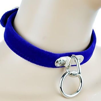 Blue Velvet Choker Sexy O Ring Fetish Collar
