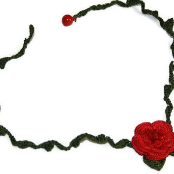 Jewelry Crochet Red Flower on Green Fine Acrylic Yarn Necklace Handmade  Christmas