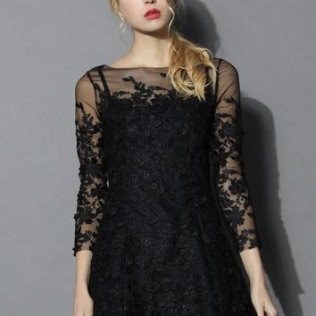 Frozen Floral Mesh Dress in Black