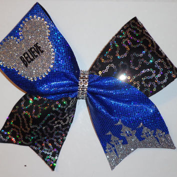 Disney Inspired Cheer Bow with Crystals and silver sequins