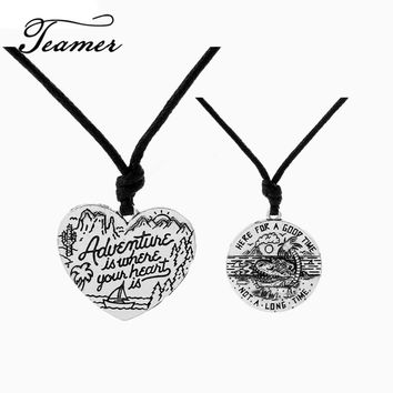 Teamer Adjustable Fashion Sunshine Beach Round/Heart Shape Pendant Necklaces Engrave Adventure is where your heart is/Good Time