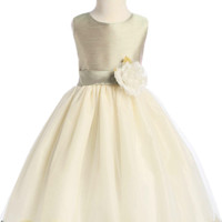 Sage Green Shantung & Ivory Tulle Blossom Flower Girl Dress with Floating Flower Petals (Girls 2T - Size 12)