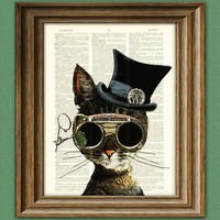 Clockwork Kitty Steampunk Cat illustration beautifully upcycled dictionary page book art print