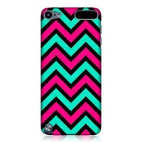 Head Case Designs Pink And Teal In Black Neon Chevron Protective Snap-on Hard Back Case Cover for Apple iPod Touch 5G 5th Gen