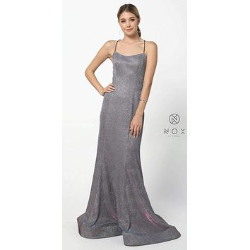 Metallic Magenta Long Prom Dress with Spaghetti Straps