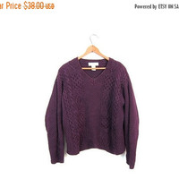 90s Cropped Sweater Chunky Knit Sweater Dark Purple Cotton Boxy Sweater Vneck Sweater Boho Crop Knit Pullover Sweater Womens Medium