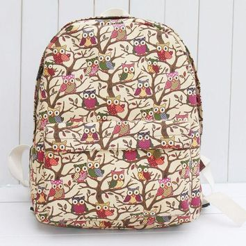 CREYUG3 Canvas Cute Owl Lovely Korean Casual Cats Cartoons Backpack = 4887761988