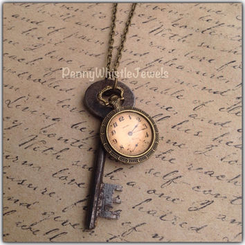 Vintage Clock Necklace, Skeleton Key Necklace, Vintage Clock Jewelry, Skeleton Key Jewelry, Handmade, PennyWhistleJewels
