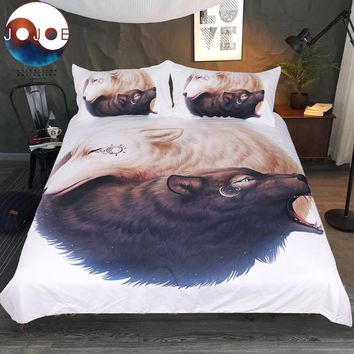 Yin and Yang Wolves by JoJoesArt Bedding Set Wolf Duvet Cover With Pillowcases Black and White Bed Set Print 3-Piece Bedclothes