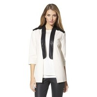 labworks Women's Faux Leather Trim Tuxedo Jacket - White