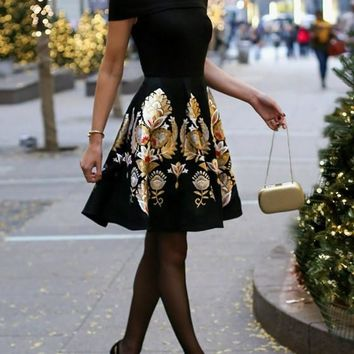 Black Flowers Print Draped Backless Off Shoulder Little Black Homecoming Prom Dress