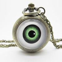 Vintage Glass Pocket Watch Necklace / Evil Eye Pocket Watch Necklace  - Buy 3 Get 4th One Free PW022