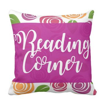 Purple Reading Corner Rose Print Pillow
