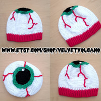 Creepy 'EYE SEE YOU' Slouchy Crochet Beanie - Spooky Eyeball Hat - Psychobilly Halloween Headwear - Horror Gothic Winter Hat