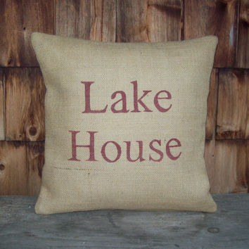 Decorative Pillow Cover - Lake House - Burlap Pillow Cover 16 x 16 by North Country Comforts