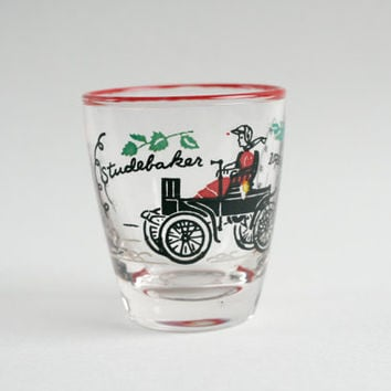 Libbey Glass Shot Glass, Libbey Studebaker, Studebaker 1902 Shot Glass, Studebaker Shotglass, Vintage Barware, Horseless Carriage