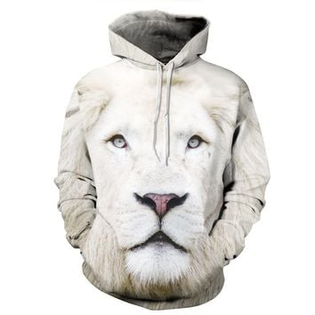 Fashion men's autumn and winter 3D White Lion Star with cap Wei clothes leisure big code couple outfit