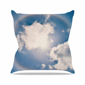 "Robin Dickinson ""Halo"" Blue White Throw Pillow"
