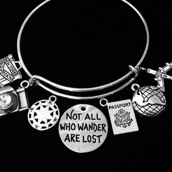 Not All Who Wander Are Lost Jewelry Expandable Charm Bracelet Silver Adjustable Bangle One Size Fits All Gift