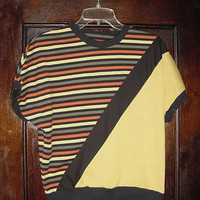 Vintage 80s Yellow Black Striped Ladies Color Block Shirt M