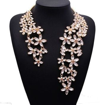 Spring Summer New Hot Fashion Jewelry Chunky Gem Crystal Flower Choker Necklace Single Shoulder Statement Necklace XG587
