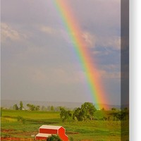 Rainbow And Red Barn Canvas Print