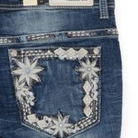 Grace in LA Plus Size Jeans Straight Leg with Diamond Floral Pocket PS6852SL