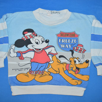 80s Mickey Mouse Pluto Freeze Way Kids Sweatshirt Youth Small