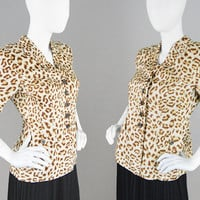 Vintage 80s ESCADA Jacket Leopard Print Jacket Animal Print Jacket Wide Shoulder Jacket Spotted Print Short Sleeve Jacket Rockabilly Jacket