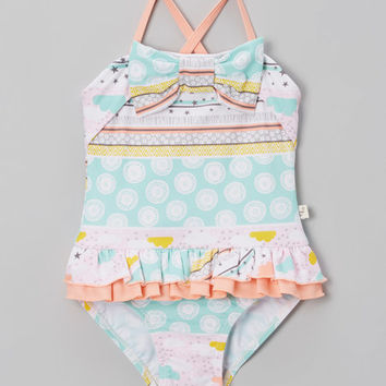 Apricot Stars & Clouds Front-Bow One-Piece - Toddler & Girls