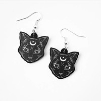 Gothic Cat and Crescent Moon Earrings