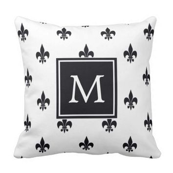 Simple Black & White Fleur De Lis Pattern Monogram Throw Pillow
