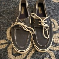 SPERRY TOP SIDER Men's Size 12 MBoat Shoes Canvas Gray Loafer, GUC