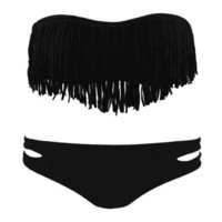Black 2 PCS Tassel Padded Swimsuit
