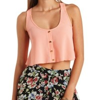Button-Up Swing Crop Top by Charlotte Russe