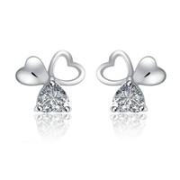 CoolGo Women Clover Design Love Heart Silver Stud Earrings 925 Sterling Silver Post Earrings w/ Cubic Zirconia CZ Diamond 9mm Come with Gift Pouch