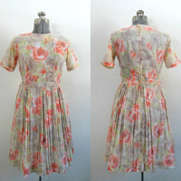 1960s Vintage Voile Dress // Coral Floral Pleated Waisted Mad Men Spring Summer Fashion