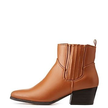 Faux Leather Gored Ankle Booties | Charlotte Russe