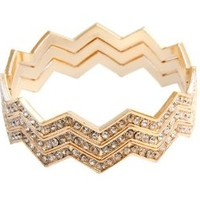 Rhinestone Chevron Stack Bangle Bracelets Set of 3 (Gold)