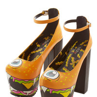 ModCloth Statement Flying Burger People Eater Heel