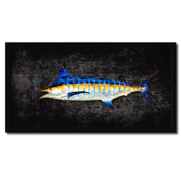 Blue Marlin Fish Art Black Canvas Print Picture Frames Home Decor Nautical Fisherman Gifts