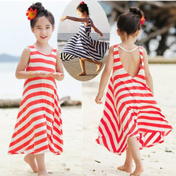Beach Dress Summer Autumn New 2016 Fashion Girls Chevron Dresses Bohemian Next Baby Girls Kids cotton children clothing Brand