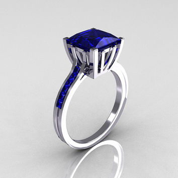 Modern Italian 10K White Gold 2.0 Carat Princess Blue Sapphire Solitaire Ring R312-10KWGBS