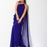 Unique One Shoulder Natural Floor-length Blue Evening Dresses [10114928] - US$126.99 : DressKindom
