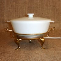 Milk Glass 1.5 QT Covered Casserole Dish, Electric Chafing Dish, Anchor Hocking Fire King Ovenware, White Lidded Bowl, Brass Stand, Buffet