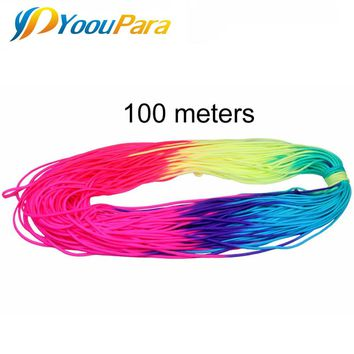 Rainbow 550 Paracord 100m Rope Cuerda Escalada 7 Strand Parachute Cord Lanyard Outdoor Climbing Camping Survival Tent Bracelet