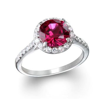 Sterling Silver Created Ruby Round & CZ Halo Ring