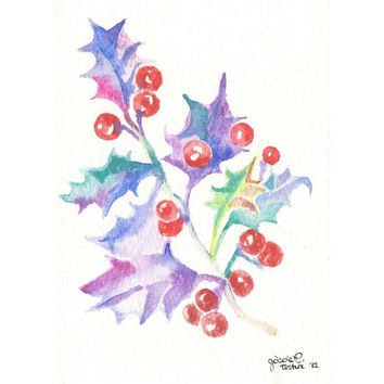 Original watercolor Mistletoe Christmas Card