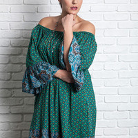 Printed Off Shoulder Dress With Pockets - Teal - Curvy
